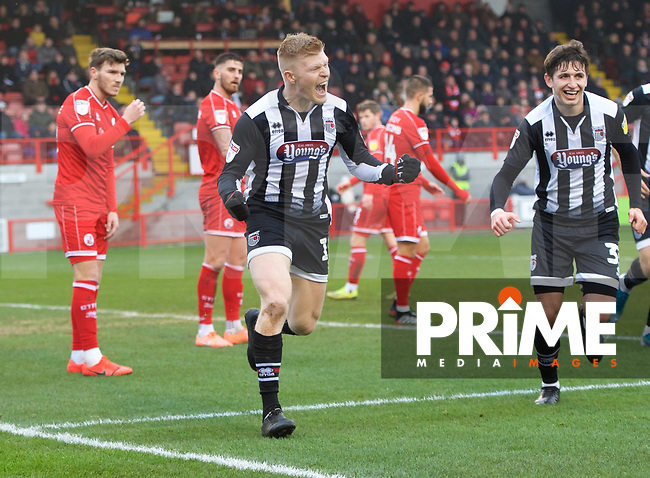 Elliott Whitehouse of Grimsby Town celebrates with Anthony Driscoll-Glennon of Grimsby Town after scoring the equaliser during the Sky Bet League 2 match between Crawley Town and Grimsby Town at The People's Pension Stadium, Crawley, England on 25 January 2020. Photo by Alan  Stanford / PRiME Media Images.