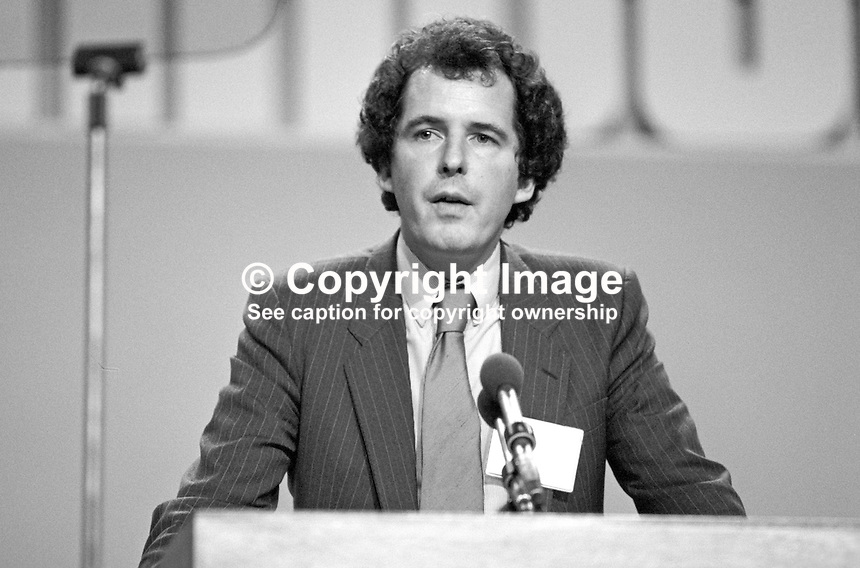 William Waldegrave, MP, Conservative Party, UK, junior minister, Environment, speaking at annual conference, Brighton, 1984. 19840148WW2.<br /> <br /> Copyright Image from Victor Patterson, 54 Dorchester Park, Belfast, UK, BT9 6RJ<br /> <br /> t1: +44 28 9066 1296 (from Rep of Ireland 048 9066 1296)<br /> t2: +44 28 9002 2446 (from Rep of Ireland 048 9002 2446)<br /> m: +44 7802 353836<br /> <br /> e1: victorpatterson@me.com<br /> e2: victorpatterson@gmail.com<br /> <br /> The use of any of my copyright images is subject to my Terms &amp; Conditions. It is IMPORTANT that you familiarise yourself with them. They are available at my website, victorpatterson.com.<br /> <br /> None of my copyright images may be used on the Internet unless they are visibly watermarked, i.e. &copy; Victor Patterson within the body of the image. My metadata, denoting my copyright must NOT be deleted. <br /> <br /> Web use is extra at currently recommended NUJ rates. Maximum permitted web size is<br />  400kb. <br /> <br /> Images must not be passed on to a third party - they are for the use of the authorised recipient only.