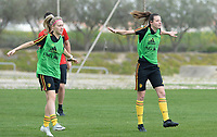 20180306 - LARNACA , CYPRUS :  Belgian Celien Guns and Nicky Van Den Abbeele (r) pictured during a Matchday -1 training from The Belgian Red Flames prior to their game against South Africa , on tuesday 6 March 2018 at the Alpha Sports Grounds in Larnaca , Cyprus . This will be the final game for Belgium during the Cyprus Womens Cup for a battle for the 5th place , a prestigious women soccer tournament as a preparation on the World Cup 2019 qualification duels. PHOTO SPORTPIX.BE | DAVID CATRY