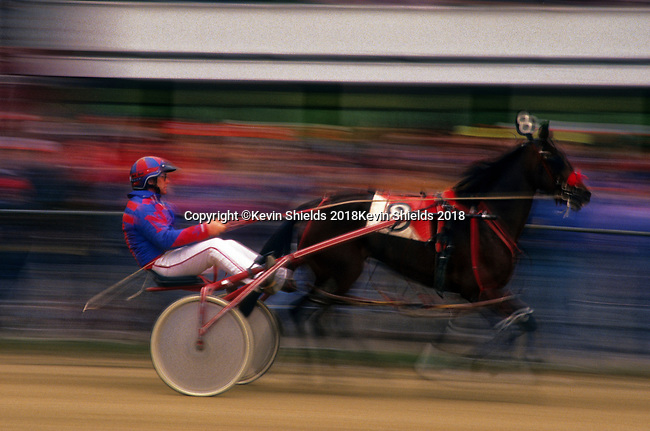 Harness racing at the Farmington Fair, Farmington, Maine, USA