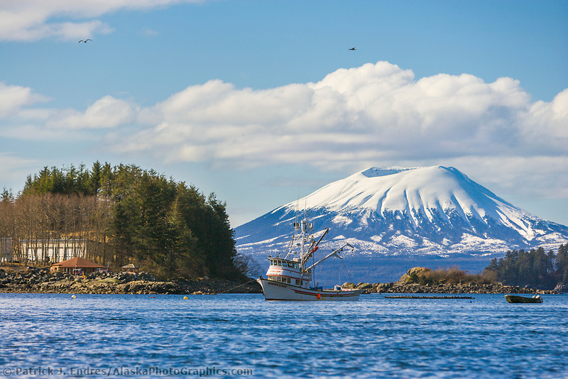Cape purse seiner, Sitka Channel, Inactive volcano Mount Edgecumbe, located on Kruzof Island, southeast, Alaska.
