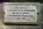 Memorial to slaveworkers who died in Guernsey for Hitler's organisation Todt, German Underground Military hospital, Guernsey, Channel Islands, UK