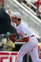 Texas Longhorns pitcher John Curtiss (43) delivers a pitch to the plate during the NCAA Super Regional baseball game against the Houston Cougars on June 7, 2014 at UFCU Disch–Falk Field in Austin, Texas. The Longhorns are headed to the College World Series after they defeated the Cougars 4-0 in Game 2 of the NCAA Super Regional. (Andrew Woolley/Four Seam Images)