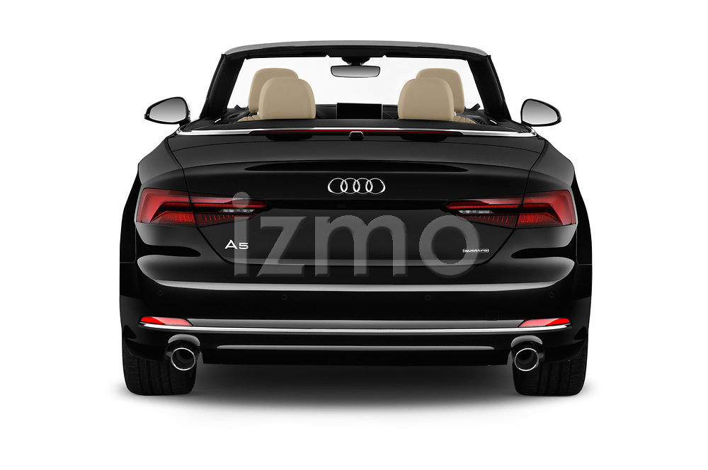 Straight rear view of 2019 Audi A5-Cabriolet Premium-Plus 2 Door Convertible Rear View  stock images
