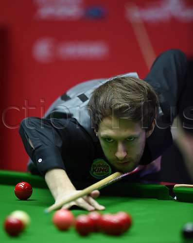 03.04.2016. Beijing, China.  Judd Trump of England  during the final of the 2016 World Snooker China Open Tournament against his compatriot Ricky Walden in Beijing,  China, April 3, 2016.