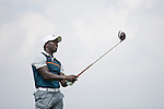 Dwight Yorke tees off the 6th hole during the World Celebrity Pro-Am 2016 Mission Hills China Golf Tournament on 23 October 2016, in Haikou, Hainan province, China. Photo by Victor Fraile / Power Sport Images