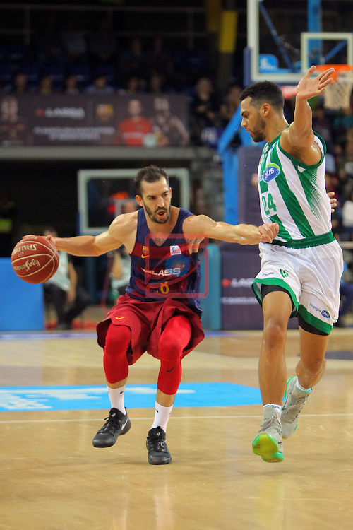 League ACB-ENDESA 2016/2017. Game: 5.<br /> FC Barcelona Lassa vs BEP-Real Betis Energia Plus: 80-58.<br /> Pau Ribas vs Trent Lockett.