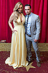 © Licensed to London News Pictures . 16/05/2015 .  The Palace Hotel , Manchester , UK . Catherine Tyldesley and he boyfriend Tom Pitfield . The red carpet at the 2015 British Soap Awards , The Palace Hotel , Oxford Road , Manchester . Photo credit : Joel Goodman/LNP