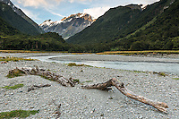 Matukituki River at Shovel Flat, Mt. Aspiring National Park, Central Otago, World Heritage Area, South Island, New Zealand