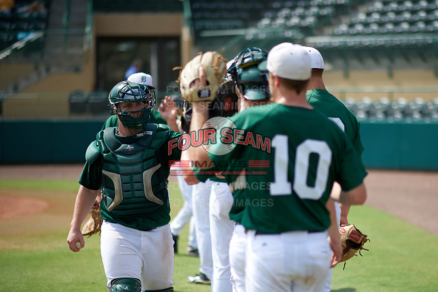 Dartmouth Big Green catcher John Melody (5) during practice before a game against the South Florida Bulls on March 27, 2016 at USF Baseball Stadium in Tampa, Florida.  South Florida defeated Dartmouth 4-0.  (Mike Janes/Four Seam Images)