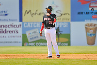 Kennys Vargas (35) of the New Britain Rock Cats leads off second base during a game against the Binghamton Mets at New Britain Stadium on June 1, 2014 in New Britain, Connecticut. New Britain defeated Binghamton 6-1.  (Gregory Vasil/Four Seam Images)