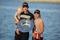 Joachim B Hansen (DEN)with his wife Elizabeth and son Felix after the final round of the Ras Al Khaimah Challenge Tour Grand Final played at Al Hamra Golf Club, Ras Al Khaimah, UAE. 03/11/2018<br /> Picture: Golffile | Phil Inglis<br /> <br /> All photo usage must carry mandatory copyright credit (&copy; Golffile | Phil Inglis)
