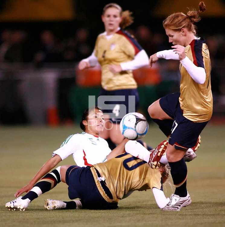 Lori Chalupny fights for the ball..USA 4, Mexico 0.PGE Park, Portland OR, October 17, 2007.