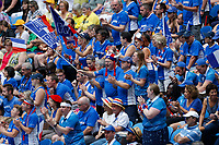 9th November 2019; RAC Arena, Perth, Western Australia, Australia; Fed Cup by BNP Paribas Tennis Final, Day 1, Australia versus France; french supporters cheer for their team during the second rubber