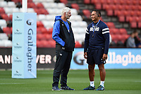 Bath Director of Rugby Todd Blackadder speaks with Bristol Bears Head Coach Pat Lam prior to the match. Gallagher Premiership match, between Bristol Bears and Bath Rugby on August 31, 2018 at Ashton Gate Stadium in Bristol, England. Photo by: Patrick Khachfe / Onside Images