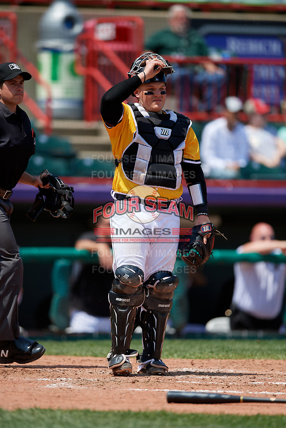 Erie SeaWolves catcher Kade Scivicque (33) during an Eastern League game against the Altoona Curve and on June 4, 2019 at UPMC Park in Erie, Pennsylvania.  Altoona defeated Erie 3-0.  (Mike Janes/Four Seam Images)