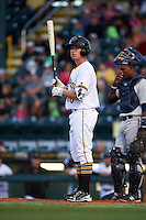 Bradenton Marauders designated hitter Jordan Luplow (26) at bat during a game against the Fort Myers Miracle on April 9, 2016 at McKechnie Field in Bradenton, Florida.  Fort Myers defeated Bradenton 5-1.  (Mike Janes/Four Seam Images)