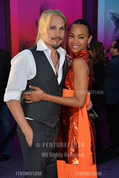 Zoe Saldana &amp; Marco Perego at the world premiere for &quot;Guardians of the Galaxy Vol. 2&quot; at the Dolby Theatre, Hollywood. <br /> Los Angeles, USA 19 April  2017<br /> Picture: Paul Smith/Featureflash/SilverHub 0208 004 5359 sales@silverhubmedia.com