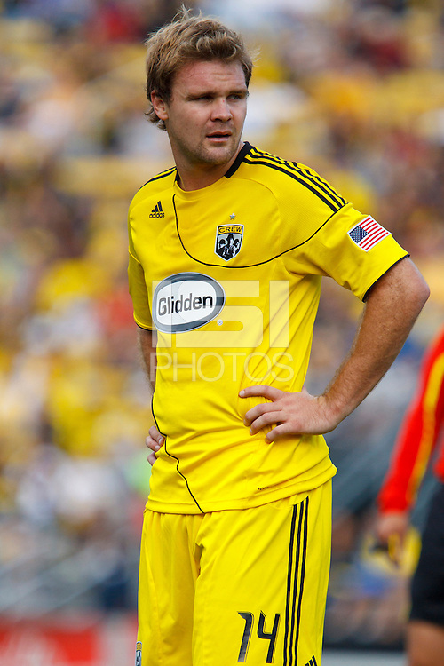 24 OCTOBER 2010:  Columbus Crew defender Chad Marshall (14) during MLS soccer game against the Philadelphia Union at Crew Stadium in Columbus, Ohio on August 28, 2010.