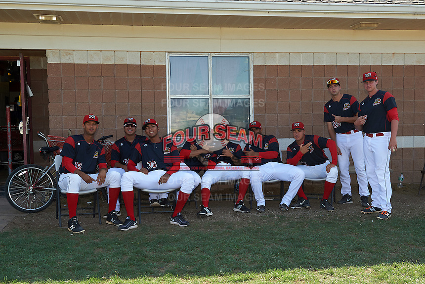 Batavia Muckdogs pitchers (L-R) Aneury Osaria, Javier Garcia, Humberto Mejia, Victor Delgado, Geral Silva, Jose Diaz, Ty Provencher, Michael Mertz, Trenton Hill before the second game of a doubleheader against the Auburn Doubledays on September 4, 2016 at Dwyer Stadium in Batavia, New York.  Batavia defeated Auburn 6-5. (Mike Janes/Four Seam Images)