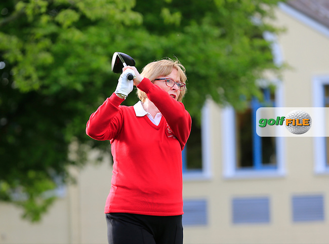 Lady Captain Angela on Julien Quesne's (FRA) team in action during Wednesday's Pro-Am of the 2016 Dubai Duty Free Irish Open hosted by Rory Foundation held at the K Club, Straffan, Co.Kildare, Ireland. 18th May 2016.<br />