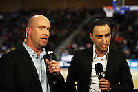Sky commentators Ed Book and Dennis Katsanos during the International women's basketball match between NZ Tall Ferns and Australian Opals at Te Rauparaha Stadium, Porirua, Wellington, New Zealand on Monday 31 August 2009. Photo: Dave Lintott / lintottphoto.co.nz