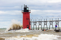 64795-02218 South Haven Lighthouse with high waves crashing South Haven,  MI
