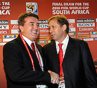Serbia's head coach Antic Radomir (L) and Ghana's head coach Rajevac Milovan (R) during the draw of FIFA 2010 World Cup groups in Cape Town, Germany, 04 December 2009. Photo: BERND WEISSBROD/Actionplus - UK Editorial Use