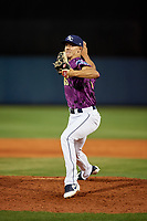 Charlotte Stone Crabs relief pitcher Spencer Jones (10) delivers a pitch during a game against the Palm Beach Cardinals on April 21, 2018 at Charlotte Sports Park in Port Charlotte, Florida.  Charlotte defeated Palm Beach 5-2.  (Mike Janes/Four Seam Images)