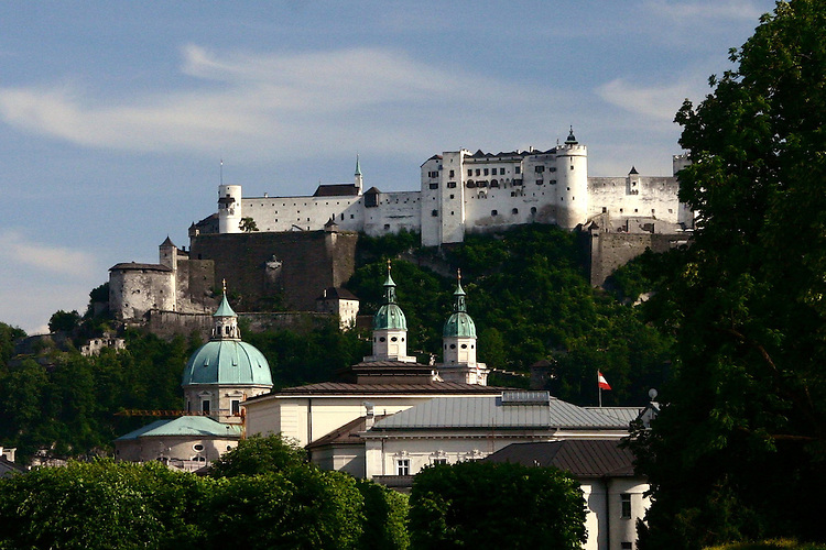 Fortress on a hill.Hohensalzburg fortress