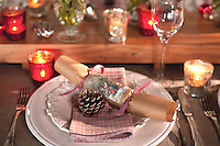 Detail of a place setting decorated with a Christmas cracker and a fir cone