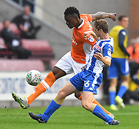 Blackpool's Viv Solomon-Otabor battles with Wigan Athletic's Reece James<br /> <br /> Photographer Dave Howarth/CameraSport<br /> <br /> The Carabao Cup - Wigan Athletic v Blackpool - Tuesday 8th August 2017 - DW Stadium - Wigan<br />  <br /> World Copyright &copy; 2017 CameraSport. All rights reserved. 43 Linden Ave. Countesthorpe. Leicester. England. LE8 5PG - Tel: +44 (0) 116 277 4147 - admin@camerasport.com - www.camerasport.com