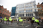 "© Joel Goodman - 07973 332324 . 28/03/2015 . Manchester , UK . Police surround the Piccadilly Tavern where the demonstrators drank inside . Approximately 100 neo-Nazis gather in Manchester for "" White Pride Worldwide day "" . Photo credit : Joel Goodman"