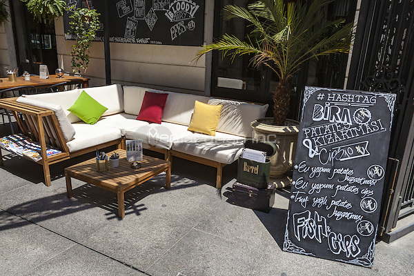 Seating and menu outside a cafe, Beyoglu, Istanbul, Turkey  May 2015.<br /> CAP/MEL<br /> &copy;MEL/Capital Pictures /MediaPunch ***NORTH AND SOUTH AMERICA ONLY***