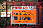 Stourbridge 4 Biggleswade Town 1, 09/11/2013. War memorial Athletic Ground, FA Cup First Round. A poster advertising Stourbridge FC's match against visitors Biggleswade Town FC at the War memorial Athletic Ground in the FA Cup first round, a stadium which also doubles as a cricket ground. The match was won by the home side by four goals to one, watched by a capacity crowd of 1605. It was Biggleswade's first appearance at the first round stage of the cup, winners Stourbridge went on to play Stevenage in the second round. Photo by Colin McPherson.