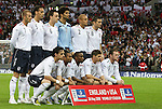 28 May 2008: England's starters pose for a team photo before the game. Front row (l to r): Owen Hargreaves, Ashley Cole, Jermain Defoe, Steven Gerrard, Wayne Rooney. Back row: David Beckham, Rio Ferdinand, John Terry, David James, Wes Brown, Frank Lampard. The England Men's National Team defeated the United States Men's National Team 2-0 at Wembley Stadium in London, England in an international friendly soccer match.