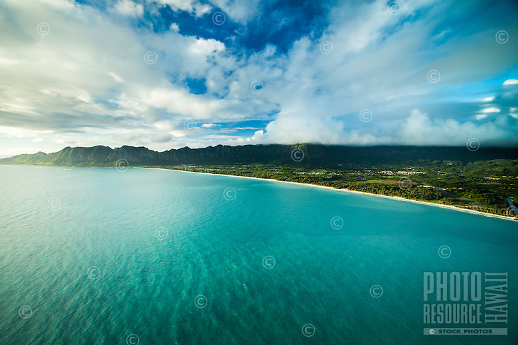 An aerial view of the Waimanalo coastline and community, backed by the Ko'olau Range, Windward O'ahu.
