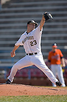 Michael Dimock #23 of the Wake Forest Demon Deacons in action versus the Virginia Cavaliers at Wake Forest Baseball Park March 8, 2009 in Winston-Salem, NC. (Photo by Brian Westerholt / Four Seam Images)