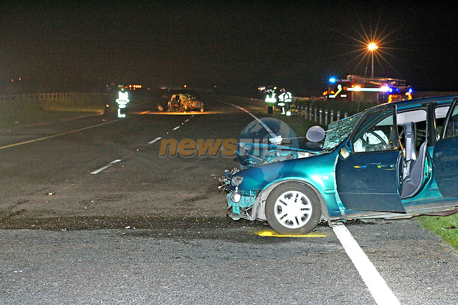 M1 Motorway south of Dundalk, the driver of the green toyota car was killed when his car was in a head on collision with another car on the motorway. the driver of the green toyota is believed to be travelling north on the south bound carriageway when he collieded with the other car. Fire service units from Ardee and Dundalk had to use cutting equipment to remove the occupants of both cars..Its believed while the garda had the opposite lanes of the motorway closed for the use of the emergency personell there was another accident involving a number of cars and fire service unit from drogheda and dunleer had to be called to attend that scene only 1.5 km away, again at that scene fire service personell from Drogheda using cutting equipment had to remove the occupants of one car..Photo NEWSFILE/FRAN CAFFREY..(Photo credit should read FRAN CAFFREY/NEWSFILE)...This Picture has been sent you under the condtions enclosed by:.Newsfile Ltd..the Studio,.Millmount Abbey,.Drogheda,.Co Meath..Ireland..Tel: +353(0)41-9871240.Fax: +353(0)41-9871260.GSM: +353(0)86-2500958.email: pictures@newsfile.ie.www.newsfile.ie.FTP: 193.120.102.198..This picture is from Fran Caffrey@newsfile.ie