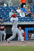 Louisville Bats outfielder Jose Peraza (7) at bat during a game against the Norfolk Tides at Harbor Park on April 26, 2016 in Norfolk, Virginia. Louisville defeated defeated Norfolk 7-2. (Robert Gurganus/Four Seam Images)