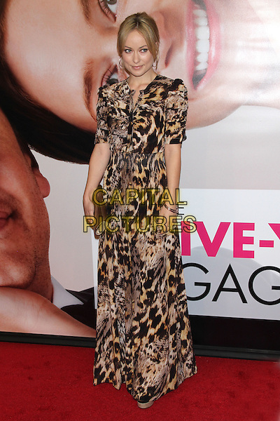 Olivia Wilde.The 2012 Tribeca Film Festival Opening Night - World Premiere of 'The Five-Year Engagement' at the Ziegfeld Theatre, New York, USA..18th April 2012.full length brown beige black leopard print dress dyed blonde hair animal.CAP/LNC.©TOM/LNC/Capital Pictures.