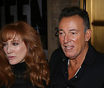 Patti Scialfa and Bruce Springsteen leaving the Walter Kerr Theater on the official opening night  performance of 'Springsteen On Broadway' on October 12, 2017 in New York City.