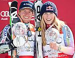 12.03.2010, Kandahar Strecke Herren, Garmisch Partenkirchen, GER, FIS Worldcup Alpin Ski, Garmisch, Men Giant Slalom, im Bild der Gewinner des Riesentorlaufweltcup 2009 2010 Ligety Ted, ( USA ), Ski Rossignol, Ski Head, er Gewinnerin des Gesamtweltcup sowie des Riesenslalom und SuperG Weltcup 2009 2010 Vonn Lindsey, ( USA ), Ski Head, mit ihren beiden Kristallkugelen, EXPA Pictures © 2010, PhotoCredit: EXPA/ J. Groder