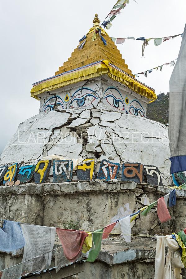 Eathquake damaged stupa, Namche Bazar, Nepal