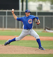 Nick Struck of the Chicago Cubs plays in a minor league spring training game against the Los Angeles Angels at the Angels complex on April 2, 2011  in Tempe, Arizona. .Photo by:  Bill Mitchell/Four Seam Images.