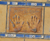 Hand print of the film star, Jeanne Moreau, outside the Palais des Festivals et des Congres, Cannes, France.