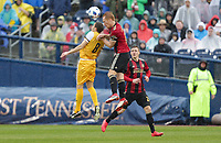 Nashville, TENN. - Saturday February 10, 2018: ROBIN SHROOT, Jeff Larentowicz during a preseason exhibition match between Nashville SC vs Atlanta United FC at First Tennessee Park.