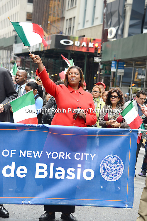 Letitia James march in the 70th Annual Columbus Day Parade on October 13, 2014 on Fifth Avenue in New York City. <br /> <br /> photo by Robin Platzer/Twin Images<br />  <br /> phone number 212-935-0770