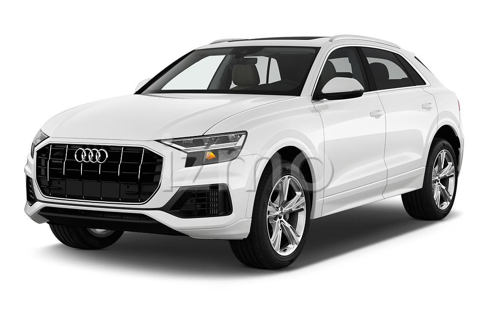2019 Audi q8 Premium Plus 5 Door SUV angular front stock photos of front three quarter view