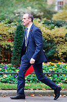 LONDON, UNITED KINGDOM - NOVEMBER 06: Secretary of State for Exiting the European Union Dominic Raab leaves after a Cabinet meeting at 10 Downing Street in central London on November 06, 2018 in London, England. <br /> CAP/GOL<br /> &copy;GOL/Capital Pictures